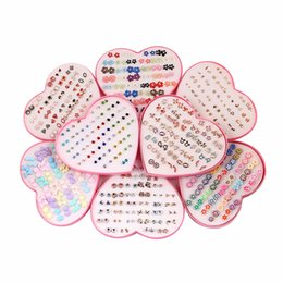 Discount set box mini - 26Design 36Pairs set Mix Mini Handmade Flower Clay Earring Stud Sets Fruit Earring Set For Child With Heart Box Earrings