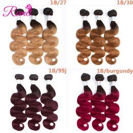 Discount burgundy ombre color weave - Rcmei 3 Bundles Ombre 1b 30 27 99j Burgundy Malaysian Body Wave Human Hair Weave Bundles Brazilian Indian Mongolian Peru
