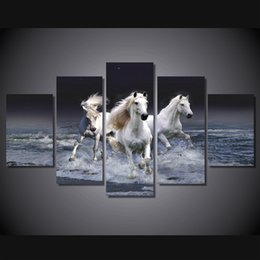 $enCountryForm.capitalKeyWord NZ - 5 Pcs Set Framed HD Printed Animal White Horse Wall Art Canvas Print Poster Canvas Pictures Abstract Oil Painting