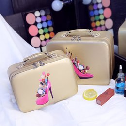 Discount cosmetic cases professional box - 2017 Hot professional PU Make up Box Portable Cartoon Makeup Cases Leather Hot Beauty Cases Trunk Hand Held Cosmetic Bag