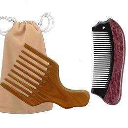 Paddle Picks online shopping - Afro Hair Pick ox Horn Wooden Pocket Comb bag Brush Drop Shipping Massage Hairbrush Men Beard Styling Christmas Valentine Business Gift
