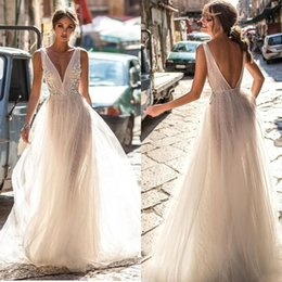 Wholesale sexy boho skirts resale online - Berta Bride Summer Lace Wedding Dresses Backless Deep V Neck Lace Appliqued Boho Bridal Gowns Illusion Bodice Tulle Wedding Dress