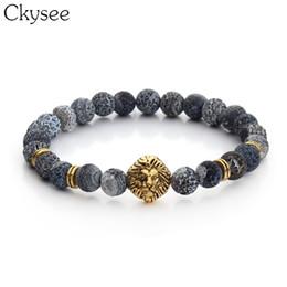 $enCountryForm.capitalKeyWord Australia - Ckysee Golden Color Leopard Head Bead Buddha Bracelet For Men Women Lava Natural Stone Beads Male Bracelet Pulseras Hombre