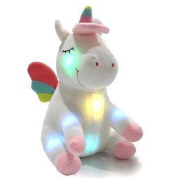 $enCountryForm.capitalKeyWord UK - LED Light Up Unicorn Stuffed Animal Toys Plush Dolls Cartoon Unicorn Toy Christmas Birthday Valentine's Day Gifts 30cm