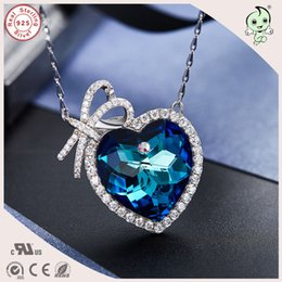 $enCountryForm.capitalKeyWord Canada - Luxurious Valentines Gift 925 Sterling Silver Love Bowknot Heart Famous Crystals Pendant Necklace For Girlfriend