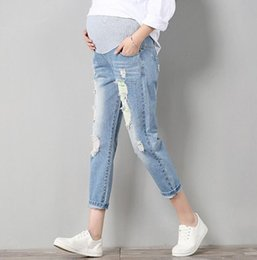 Jeans trousers for pregnant women online shopping - Jeans Maternity Pants For Pregnant Women Clothes Trousers Nursing Prop Belly Legging Pregnancy Clothing Overalls Ninth Pants New