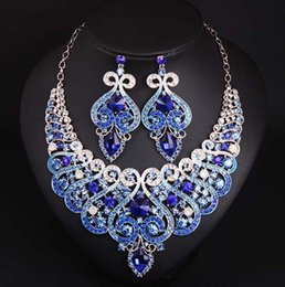 royal blue jewelry sets NZ - 2020 Full Crystal Jewelry Sets Royal Blue Women African Costume Jewelry Colorful Rhinestone Necklace Earrings Set
