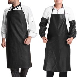 Discount chefs aprons for men - Faux Leather Chef Apron Waterproof Restaurant Cooking Bib Apron Sleeveless Apron +Cuff Unisex For Men Household Tools