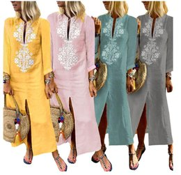 $enCountryForm.capitalKeyWord NZ - Bursting 2019 women's dress, long cotton and linen dress in Europe, autumn and winter, big size women's clothing, factory direct sale