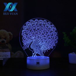 3d christmas bedding 2018 - HUI YUAN Peacock 3D Lamp LED Night Light Touch Table Lamp 7 Color Change Powered by Battery USB Christmas gift cheap 3d