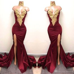 $enCountryForm.capitalKeyWord NZ - .2K18 Sexy Burgundy Prom Dresses with Gold Lace Appliqued New Design Mermaid Side Split For 2018 Satin Long Party Evening Wear Gowns