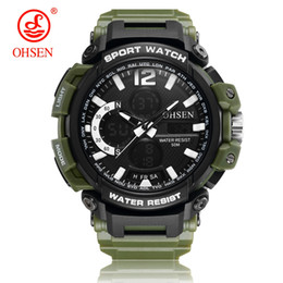ohsen sports watches UK - Original Fashion OHSEN Digital Quart Watch Men Stopwatch Sports Watch Silicone Band LED Army Wristwatches Relogios Montre Homme