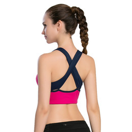 3897ed76f6 2018 Women Fitness Sexy Straps Quick Dry Breathable Elastic Yoga Jogging Gym  Exercise Cross Straps Removable Pad Sports Bra Tops