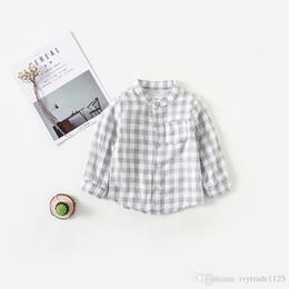 Tops Girl Shirt Design Australia - girl boy kids clothing shirt 100% cotton stand collar long sleeve plaid design boy girl t shirt spring fall comfortable top t shirt
