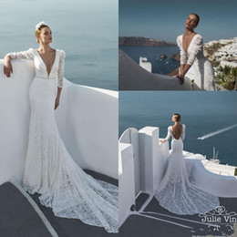 $enCountryForm.capitalKeyWord NZ - New Beach Long Sleeves Lace Sheath Wedding Dresses Plunging V Neck Beaded Sequined Sexy Backless Bridal Gowns