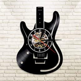 guitar classic 2020 - 1Piece Musical Instruments Guitar Wall Led Wall Lighting Color Change Vintage LP Record Clock Decor Handmade LED Light d