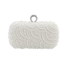 The Hand made Luxury Pearl Clutch bags Women Purse Diamond Chain white  Evening Bags for Party Wedding black Bolsa Feminina fe27d43157aa