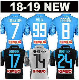 2018 2019 Napoli Home Blue Soccer Jersey 18 19 Naples Blue Soccer Shirt  2018 Customized  14 MERTENS  17 HAMSIK  24 INSIGNE Football Uniform 13326a443eafa