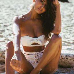 EuropEan ladiEs bikini online shopping - European And American Women White Pure Color Bandage Swimwear Lady Split Type Swimsuit Many Styles Sexy Bikini xm W