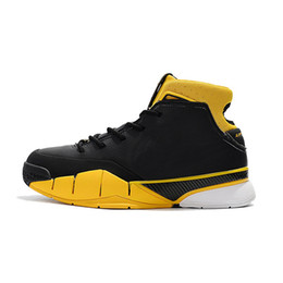 cd625091bbb Cheap 2018 New Mens Kobe 1 Protro basketball shoes Del Sol Black Yellow  Zoom Air KB ZK1 Mid High Tops sneakers Trainers with box for sale
