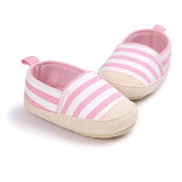 $enCountryForm.capitalKeyWord Canada - Blue&Pink Striped Baby Shoes Infant First Walkers Soft Sole Cotton Cloth Footwear Casual Anti-Slip Shoes