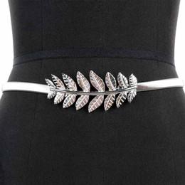 $enCountryForm.capitalKeyWord NZ - Women Belt Leaf Design Clasp Front Stretch Metal Waist Belt Skinny Elastic Fashion Style Women Waistband Dresses Decorative