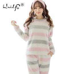 Linen Sleepwear Canada - New Winter Girls Pyjama Sets Women Flannel Striped  Thick Warm Christmas Homewear b6fbdeb62b