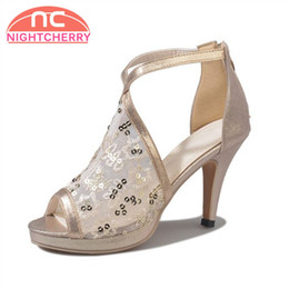 6c2a77f01490 Bling Sandals Canada - wholesale Women Korean High Heel Sandals Peep Toe  Bling Breathable Zipper Sandals