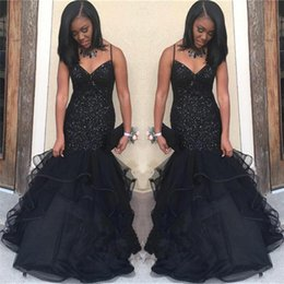 $enCountryForm.capitalKeyWord Australia - Long Sweetheart Beaded Floor Length Spaghetti Straps Sparkling Sequins Sexy Straps Popular Black Mermaid Ruffled Evening Dresses Online