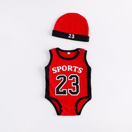 $enCountryForm.capitalKeyWord Canada - newborn baby boy clothes Baby Boys Rompers 2018 baby romper Basketball sports rompers suits with caps Sleeveless jumpsuit climbing clothes