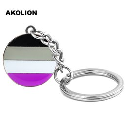 lgbt ring NZ - Gay Pride LGBT Asexual Pride Round Key Chain Metal Key Ring Fashion Jewelry for Decorative