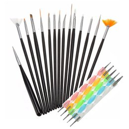 Wholesale 20Pcs set Nail Art Brushes Set Painting Dotting Detailing Nail Art Pen Brushes Professional Nail Brushes For Salon Manicure Tips Tool