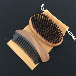 men hair beard styles NZ - Classic 3in1 Boar Bristle Palm Brush & Horn Wood Comb Cotton Bag Set Travel Carry Makeup Fashion Hair Care Styling Tool Men Beard Grooming