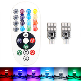 AdditionAl brAke light online shopping - 2PCS SMD T10 RGB Car LED Light Interior W5W W16W Auto Atmosphere Lamp Wedge Light bulbs Remote Control DHL Free
