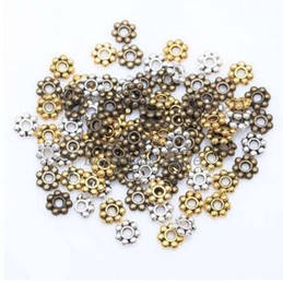 Discount silver round 4mm spacer beads 1000pcs Flower Spacer Beads for Jewelry Making Round Metal Daisy Wheel Charms 4mm Tibetan Gold Silver Bead Jewelry Acces