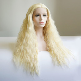 Brown Blond Hair Australia - 32inch Heat Resistant Fiber Hair Middle Part waterwave light blond 613# Synthetic Glueless Lace front wig for African American Women