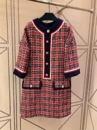 Mifairy 2018 Autumn Red Plaid 3/4 mangas largas vestido de las mujeres botones del diseñador Thick Tweed vestidos cortos mujeres 91806