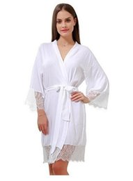 cotton kimonos wholesale 2019 - 100% Cotton Soft and Comfortable Bathrobe for Women Personalized Lace Trim Sexy Women Kimono Nightgown Robes discount co