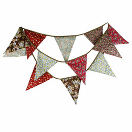Fabric Flowers Decoration UK - New 3.5M Bigger flags Ethnic flower Print Fabric Bunting Personality Wedding Party Decoration Home Garden Garland
