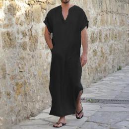 3bb5bd1079 INCERUN 100%Cotton 5XL Men Dress Robe V-Neck Short Sleeve Full Length  Loungewear Male Gown Big Pockets Sleepwear Pajamas Summer