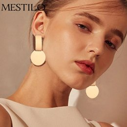 indian coin wholesaler 2019 - MESTILO New Fashion Geometric Square Round Coin Earrings For Women Fashion Punk Gold Indian Long Drop Earrings Jewelry B