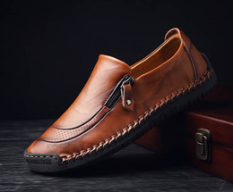 men travelling shoes NZ - Mens genuine leather shoes breathing loafer big size official shoes exquisite mens travelling casual patchwork flats for Men zy801