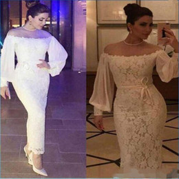 $enCountryForm.capitalKeyWord NZ - Ankle Length Sheath White Lace Evening Dresses Off Shoulder Long Sleeves Prom Gowns Plus Size Formal Party Dress