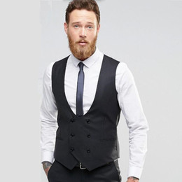 men waistcoat double 2019 - new Suit ma3 jia3 Black double breasted men waistcoat Fashion groom tuxedos vest high quality wedding best man dress Wai
