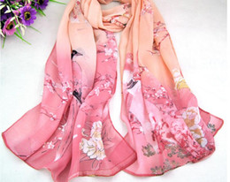 Chinese pashmina sCarves online shopping - Chinese style flower magenta chiffon scarves manufacturers sunscreen quality thin section ladies Scarves