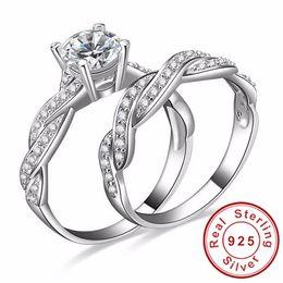 $enCountryForm.capitalKeyWord Australia - Ergu Jewelry Infinity Love Simulated CZ Diamant Engagement Wedding Ring Sets 925 Sterling Silver Rings for Women Bridal Jewelry
