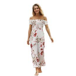 8260dda83 Jumpsuit Women Bodysuit 2018 New Boho Prints Summer High Waist White Ninth  Pants Thin Bohemian Sexy Calual Club Dew Shoulder