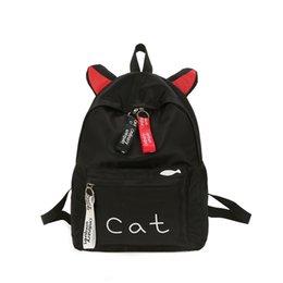 $enCountryForm.capitalKeyWord NZ - Teens Women Backpack Schoolbag for Girls Teenage School Bags Cute Cat Ears Nylon Printing Back Pack Female Book Bag 2018