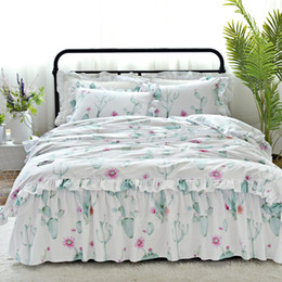 Discount pink floral full size bedding - Lace floral princess bedding set 3 4pcs twin full queen king size cactus strawberry flamingo bed skirt set free shipping