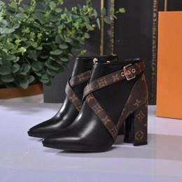 Booties heels for women online shopping - Women Shoes Designer Women Heels Designer Shoes Brand Fashion Luxury Designer Women Shoes Thick Heel Leather Booties For Womens Size4